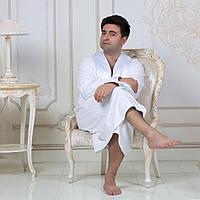 Махровый мужской халат с атласным воротником Austin. Белый XL, все размеры.