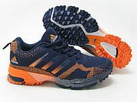 Беговые кроссовки адидас Marathon 15 синие с оранжевым