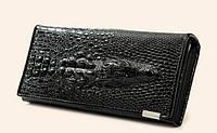 Женский кошелек кожа крокодил черный