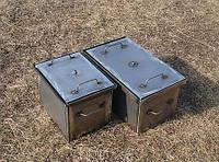 Коптильня с гидрозатвором 2 уровня и поддон 650х500х400 металл 1,5 мм