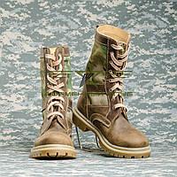Берцы НАТО нубук цвет коричневый, со вставками ткани мультикам, фото 1