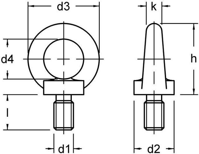 Чертеж рым-болта DIN 580, ГОСТ 4751-73