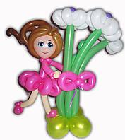 Букет из шариков Ромашки с девочкой на День рождения