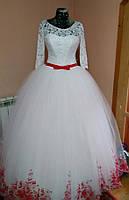 """Свадебное платье """"Красная бабочка"""" (рукав 3/4 с красным поясом и кружевами)"""