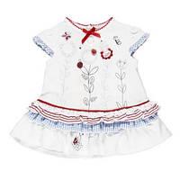 """Платья летние комплект из 2 ед комплект""""платье с рюшами с цветами+трусы в горох"""" дев. белый с голубым и красны"""