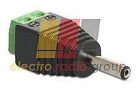 Штекер питания DC, 2,1/5,5мм (жёлтый), с клеммной колодкой (под винт)