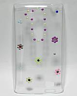 Чехол на LG L Fino D295 накладка ручной работы, Милые Цветочки