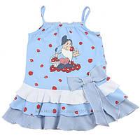 """Платья летние комплект из 2 ед комплект""""сарафан+косынка"""" дев. голубой с гномом 95%хлопок,5%эластан 132BELV001"""
