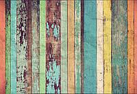 Фотообои флизелиновые Цветные деревянные стени 366*254 Код 966