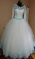 """Свадебное платье """"Мятная бабочка"""" (рукав 3/4 с мятным/тиффани поясом и кружевами)"""