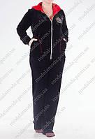 Модный велюровый женский костюм