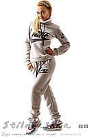 Зимний женский теплый спортивный костюм Найк хомут серый
