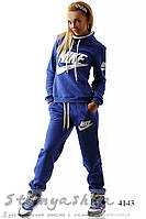 Зимний женский теплый спортивный костюм Найк хомут индиго