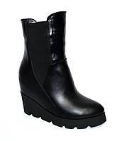 Женские кожаные стильные ботинки на устойчивой платформе. Зимний вариант, фото 1