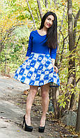 Легкое синее  платье с юбкой -клеш