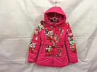 Куртка подростковая для девочки демисезонная 8-12 лет, малиновая