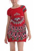 Платья летние платье верх красный,широкий пояс, один рукав в полоску, юбка белая с ярким орнаментом дев. красн