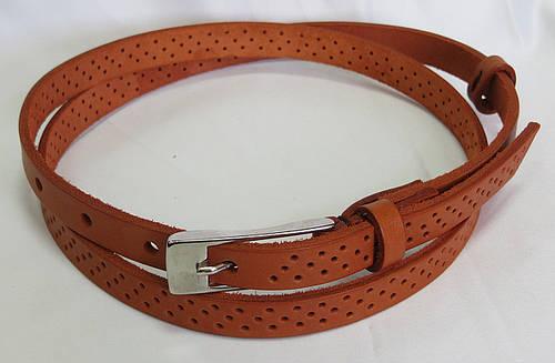 Ремень поясок женский кожаный «Трио» Svetlana Zubko ДхШ: 123х1,5 см. рыжий 2F15427