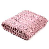 Плед вязаный Ohaina в косы 190х160  цвет розовая пудра, фото 1