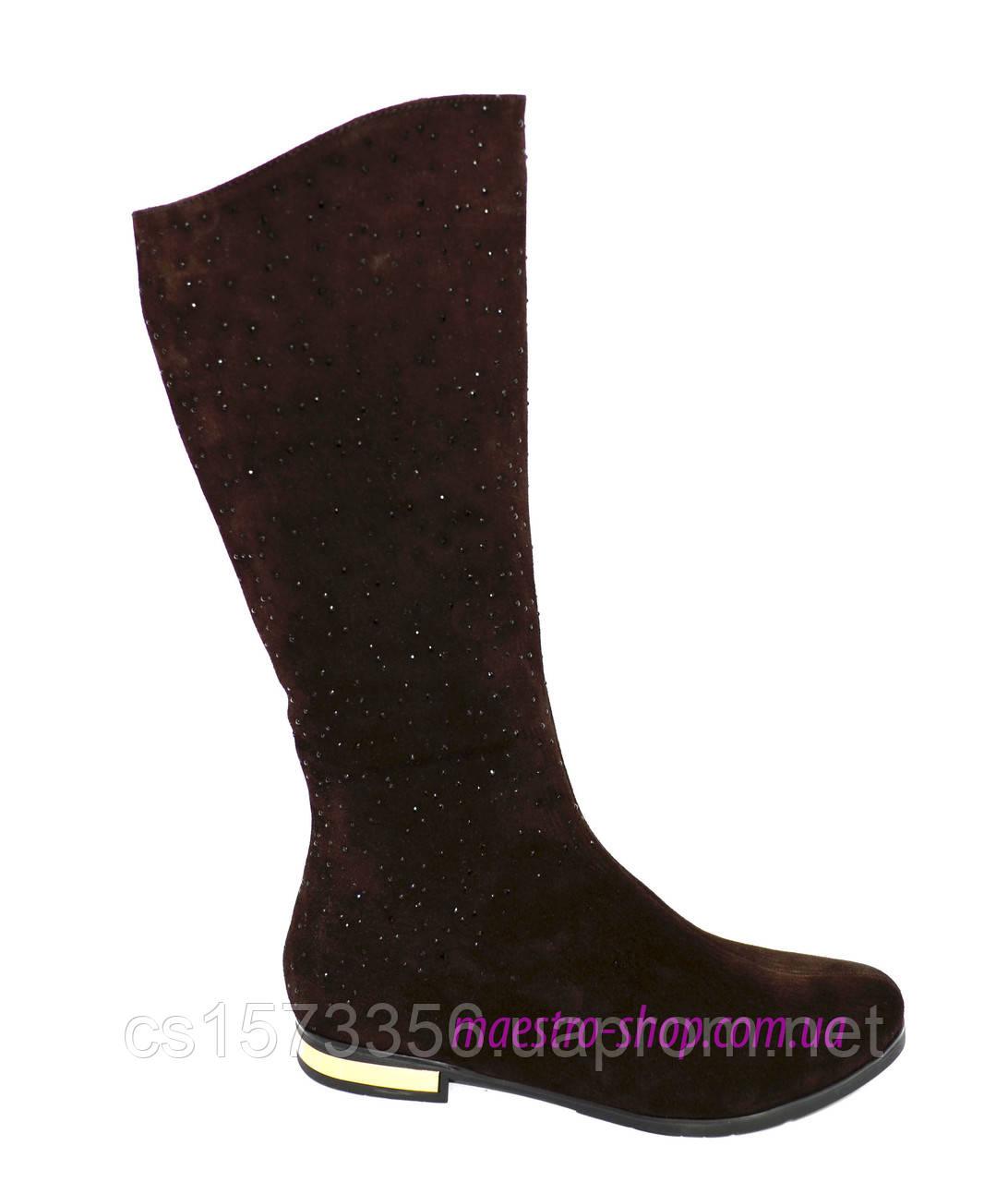 Сапоги женские замшевые демисезонные, коричневый цвет