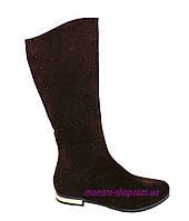 Сапоги женские замшевые зимние, цвет коричневый, фото 1