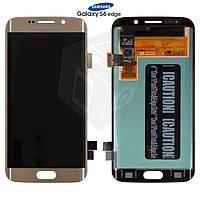 Дисплейный модуль (дисплей + сенсор) для Samsung Galaxy S6 EDGE G925F, золотой, оригинал