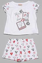 Пижама пижама (футболка, шорты) дев. белый, рисунок сердечки красные 100%котон 131BGML002 BRUMS, Италия