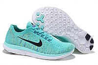 Кроссовки найк женские фри ран Nike free run 4 бирюзовые с черным
