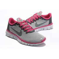 Кроссовки найк женские фри ран Nike free run 3 серые с малиновым