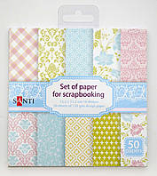Набор бумаги для скрапбукинга 50шт/уп., 15*15см, розово-голубой 951930