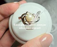 Серебряное кольцо 925 пробы с накладками золота 375 пробы и жемчугом