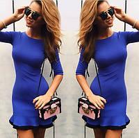 Синее короткое платье с  оборкой№18812,скл№12