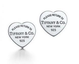 Серебряные серьги пуссеты сердца Тиффани Tiffany