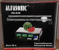 Весы торговые 40 кг со счетчиком цены AlfaSonic AS A-40