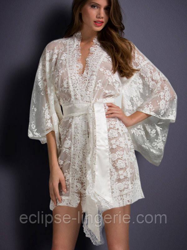 Белый кружевной халат