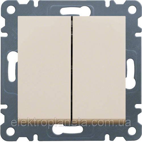 Вимикач 2-клавішний Lumina-2, крем, 10АХ/230В