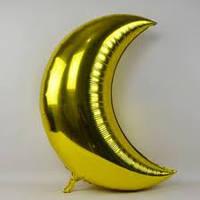Фольгированный шарик Луна золотой.