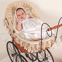 Рубашка для крещения с шапочкой  Изящность от   Battesimo от 0 до 6 месяцев, шампань