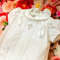 Платье для крещения девочки Машенька от Miminobaby  белое с серебряной вышивкой вышивкой