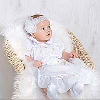 Платье для крещения девочки Машенька от Miminobaby от 0 до 3 месяцев, белое с золотой вышивкой