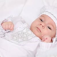 Крестильный костюм для мальчика Иванушка от Miminobaby от 6 до 12 месяцев, белый с серебряной  вышивкой