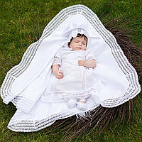 Крыжма  для крещения утепленная Ажурная  от Miminobaby белая