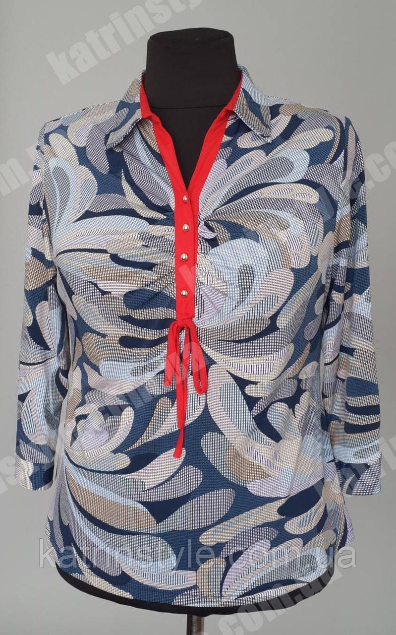 Женская блуза большого размера с отложным воротником