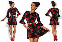 Платье женское короткое с цветочным принтом P1199, фото 1
