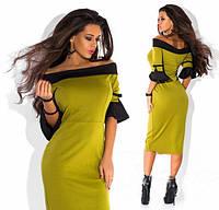 Платье женское короткое трикотажное с расклешенными рукавами P1207, фото 1