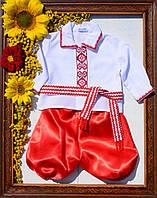 Вышиванка домотканая с красными шароварами от 56 см до 1 года