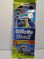Gillette жиллетт Blue II Plus станок мужской одноразовый 5 шт.+1 шт. Blue 3
