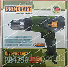 Сетевой шуруповерт PROCRAFT РВ1250 2-х скоростной