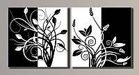 Картина модульная на холсте Стильные цветы HAD-014 55*112(2) см.