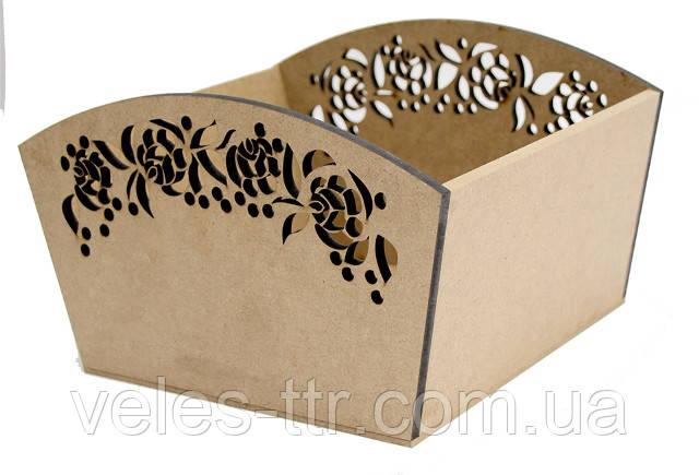 Лоток конфетница Цветочный орнамент 25*20*15 см МДФ заготовка для декора